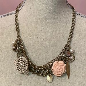 Faux Pearl & Flower Statement Necklace